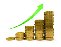 Business Graph. With arrow and coins showing profits and gains Stock Photos