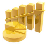 Business Graph. Golden Business Graph of growing up arrow Stock Image