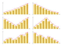 Business Graph. Isolated illustration eps 10 Business graph with arrow and coins showing profits and gains Stock Image