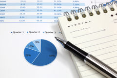 Business graph. Analysis report with pen Stock Images