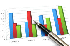 Business graph. Analysis report with pen Stock Photography