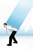 Business Graph. Businessman lifting  heavy part of Graph on his back Stock Photography