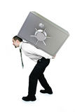 Business Graph. Businessman lifting  heavy part of Graph on his back Royalty Free Stock Image