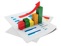 Business graph 3d. 3d image on white background Royalty Free Stock Images