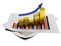 Business graph 3d Stock Photos