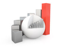 Business graph, 3D. Business graph isolated on white, 3D Stock Images