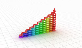Business graph. 3D image. Royalty Free Stock Photos