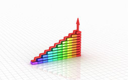 Business graph. 3D image. Business graph. 3d rendered concept.  on white Royalty Free Stock Photos
