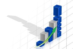 Business graph 3d over grid Royalty Free Stock Images