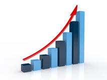Business Graph. With arrow showing profits and gains Stock Photos
