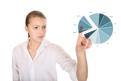 Business graph. Business woman analyses data on touch screen royalty free stock photos