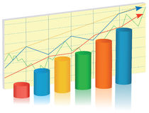 Business graph. Multicolor rising business graph, vector  illustration Stock Image