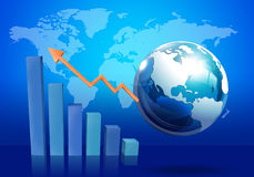 Business Graph. With world map and Globe Stock Image