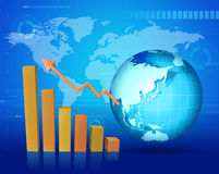 Business Graph. With world map and Globe Stock Images