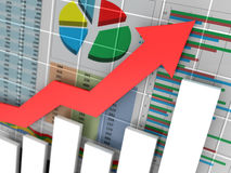 Business graph. Abstract 3d illustration of business graph closeup Stock Photo