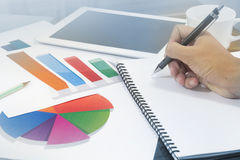 Business graph analysis with hand of a man in office meeting Royalty Free Stock Photography