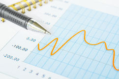 Business graph analysis report. Stock Images