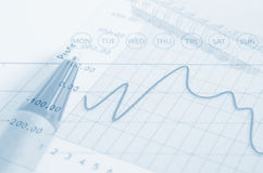Business graph analysis report. Royalty Free Stock Image