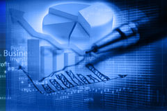 Business graph analysis report Royalty Free Stock Images