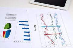Business graph analysis report. Royalty Free Stock Photography
