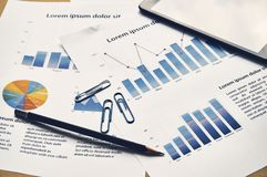 Business graph analysis report. Financial statistics dummy report. Accounting desk, Business concept royalty free stock photography