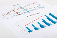 Business graph analysis report. Royalty Free Stock Photo