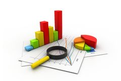 Business graph analyzing. 3d illustration of Business graph analyzing Royalty Free Stock Photography