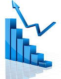 Business graph with arrow. Illustration Stock Photos