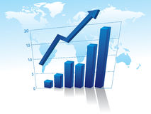 Business graph with arrow Royalty Free Stock Photo