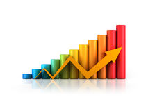 Business graph with arrow. Colourful business graph with yellow arrow growth up Stock Photos