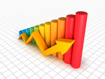 Business graph with arrow. Business graph with yellow arrow growth up Royalty Free Stock Photos