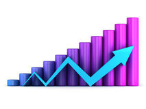 Business graph with arrow. Business graph with blue arrow growth up Stock Photos