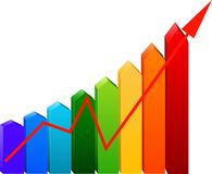 Business Graph with arrow. Showing profits and gains Stock Images