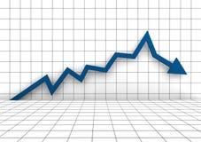 Business Graph Arrow Blue. A 3D rendered illustration Business Graph Arrow Blue Stock Image