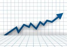Business Graph Arrow Blue. A 3D rendered illustration business graph arrow blue Royalty Free Stock Photos