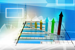Business graph with arrow Royalty Free Stock Photos
