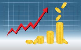 Business Graph with piles of golden coins and falling coins showing profits isolated on blue background. Business Graph with arrow and coins showing profits and Royalty Free Stock Photo