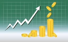 Business Graph with piles of golden coins and falling coins showing profits isolated on green background. Business Graph with arrow and coins showing profits Stock Photos