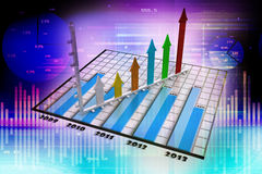 Business graph with arrow. In colour background Royalty Free Stock Photography