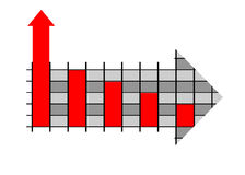 Business graph in arrow design. Over white background Royalty Free Stock Image