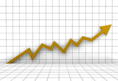 Business graph arrow gold yellow. A 3D rendered illustration business graph arrow gold yellow Royalty Free Stock Photo