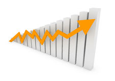 Business graph arrow gold yellow. A 3D rendered illustration business graph arrow gold yellow Stock Photo