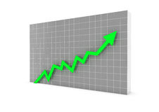 Business graph arrow green. A 3D rendered illustration business graph arrow green Royalty Free Stock Images