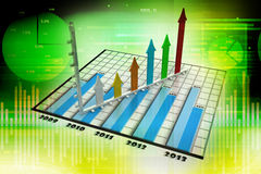 Business graph with arrow. In green colour background Stock Images