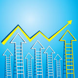Business graph of arrow ladder Stock Photos