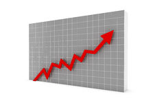 Business graph arrow red. A 3D rendered illustration business graph arrow blue Stock Image