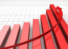 Business Graph with arrow showing profits. And gains Stock Photos