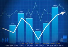 Business graph with arrow showing profits and gain Stock Image
