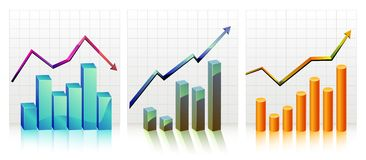 Business Graph with arrow showing profits and Royalty Free Stock Photo