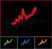 Business Graph with Arrow Up - Black. Business graph with arrow  pointing to up Royalty Free Stock Photo